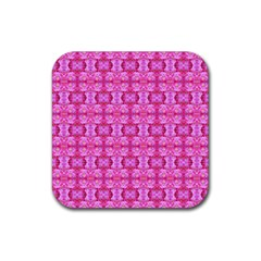 Pretty Pink Flower Pattern Rubber Square Coaster (4 pack)