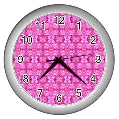 Pretty Pink Flower Pattern Wall Clocks (Silver)