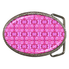 Pretty Pink Flower Pattern Belt Buckles