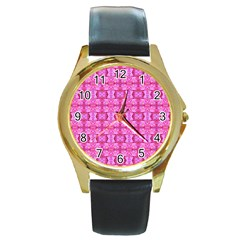 Pretty Pink Flower Pattern Round Gold Metal Watches by Costasonlineshop