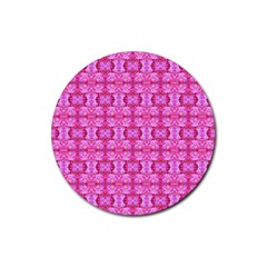 Pretty Pink Flower Pattern Rubber Round Coaster (4 pack)