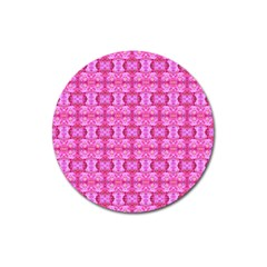 Pretty Pink Flower Pattern Magnet 3  (Round)