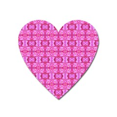 Pretty Pink Flower Pattern Heart Magnet