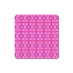Pretty Pink Flower Pattern Square Magnet