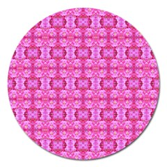 Pretty Pink Flower Pattern Magnet 5  (Round)