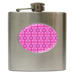 Pretty Pink Flower Pattern Hip Flask (6 oz)
