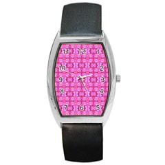 Pretty Pink Flower Pattern Barrel Metal Watches