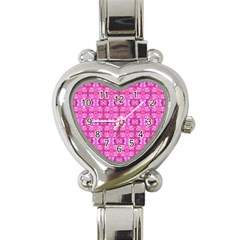 Pretty Pink Flower Pattern Heart Italian Charm Watch