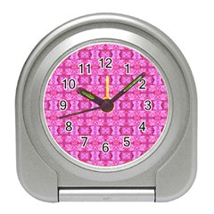 Pretty Pink Flower Pattern Travel Alarm Clocks