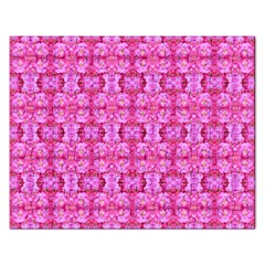 Pretty Pink Flower Pattern Rectangular Jigsaw Puzzl