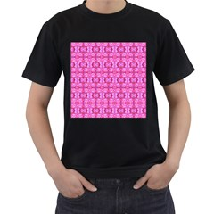 Pretty Pink Flower Pattern Men s T-Shirt (Black) (Two Sided)