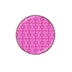 Pretty Pink Flower Pattern Hat Clip Ball Marker