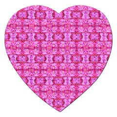 Pretty Pink Flower Pattern Jigsaw Puzzle (Heart)