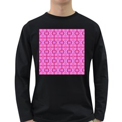Pretty Pink Flower Pattern Long Sleeve Dark T-Shirts