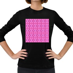 Pretty Pink Flower Pattern Women s Long Sleeve Dark T-Shirts