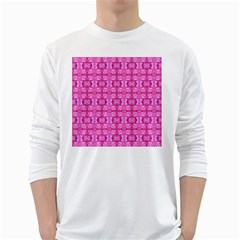 Pretty Pink Flower Pattern White Long Sleeve T-Shirts