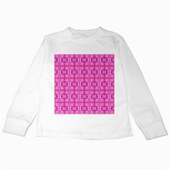 Pretty Pink Flower Pattern Kids Long Sleeve T-Shirts
