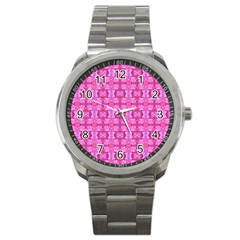 Pretty Pink Flower Pattern Sport Metal Watches
