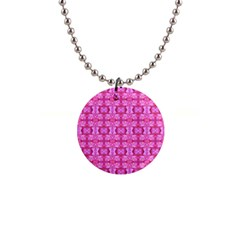 Pretty Pink Flower Pattern Button Necklaces