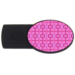 Pretty Pink Flower Pattern USB Flash Drive Oval (4 GB)