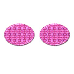 Pretty Pink Flower Pattern Cufflinks (Oval)