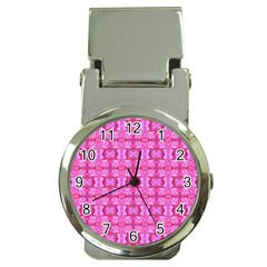 Pretty Pink Flower Pattern Money Clip Watches