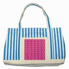 Pretty Pink Flower Pattern Striped Blue Tote Bag