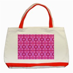 Pretty Pink Flower Pattern Classic Tote Bag (Red)