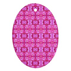 Pretty Pink Flower Pattern Oval Ornament (Two Sides)
