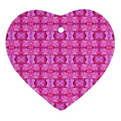 Pretty Pink Flower Pattern Heart Ornament (2 Sides)
