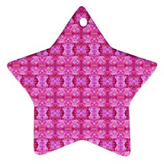 Pretty Pink Flower Pattern Star Ornament (Two Sides)