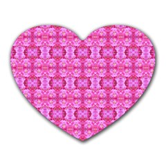 Pretty Pink Flower Pattern Heart Mousepads