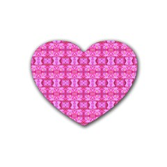 Pretty Pink Flower Pattern Rubber Coaster (Heart)