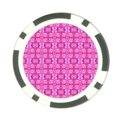 Pretty Pink Flower Pattern Poker Chip Card Guards