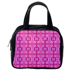 Pretty Pink Flower Pattern Classic Handbags (One Side)