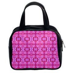 Pretty Pink Flower Pattern Classic Handbags (2 Sides)