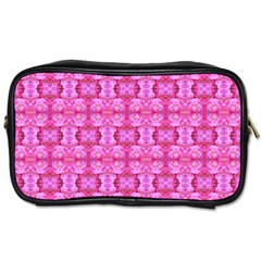 Pretty Pink Flower Pattern Toiletries Bags