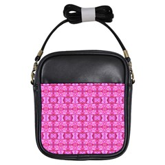 Pretty Pink Flower Pattern Girls Sling Bags