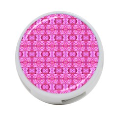 Pretty Pink Flower Pattern 4-Port USB Hub (One Side)
