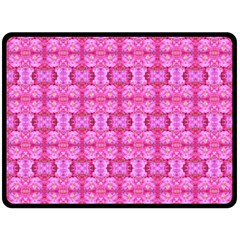 Pretty Pink Flower Pattern Fleece Blanket (Large)