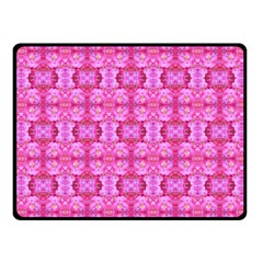 Pretty Pink Flower Pattern Fleece Blanket (Small)