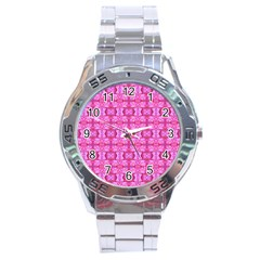 Pretty Pink Flower Pattern Stainless Steel Men s Watch