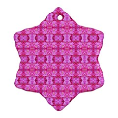 Pretty Pink Flower Pattern Snowflake Ornament (2-Side)