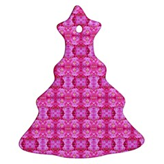 Pretty Pink Flower Pattern Christmas Tree Ornament (2 Sides)