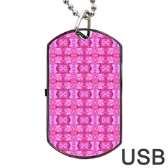 Pretty Pink Flower Pattern Dog Tag USB Flash (Two Sides)