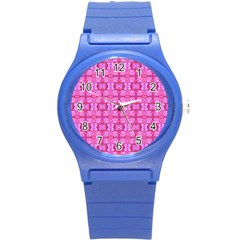Pretty Pink Flower Pattern Round Plastic Sport Watch (S)