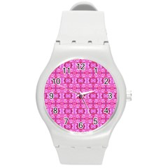 Pretty Pink Flower Pattern Round Plastic Sport Watch (M)