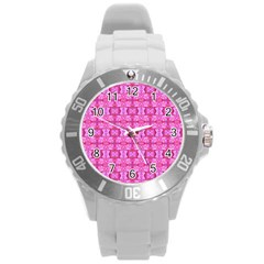 Pretty Pink Flower Pattern Round Plastic Sport Watch (l) by Costasonlineshop