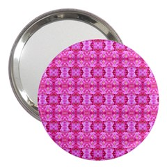 Pretty Pink Flower Pattern 3  Handbag Mirrors