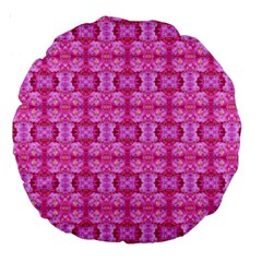 Pretty Pink Flower Pattern Large 18  Premium Round Cushions